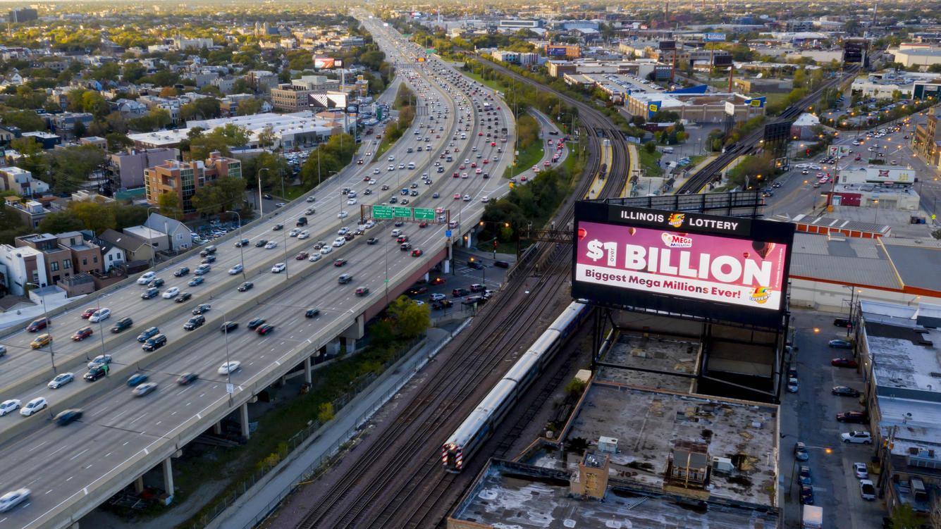 An Illinois Lottery billboard advertisement, featuring the Mega Millions, is seen on the northwest side along the I-90 Kennedy Expressway in Chicago, IL on October 20, 2018. The jackpot is now $1.6 billion, a record breaking Mega Millions jackpot. Currently the jackpot is tied with the largest jackpot in U.S. history. (Photo by Patrick Gorski/NurPhoto via Getty Images)