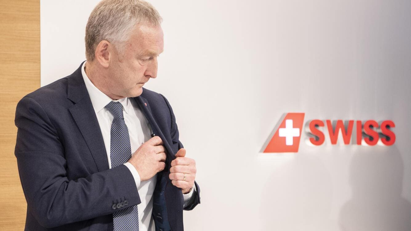 CEO Thomas Kluehr reacts after the Annual Media Conference of Swiss International Air Lines, on Thursday, 14 March 2019 in Kloten, Zurich. (KEYSTONE/Ennio Leanza)