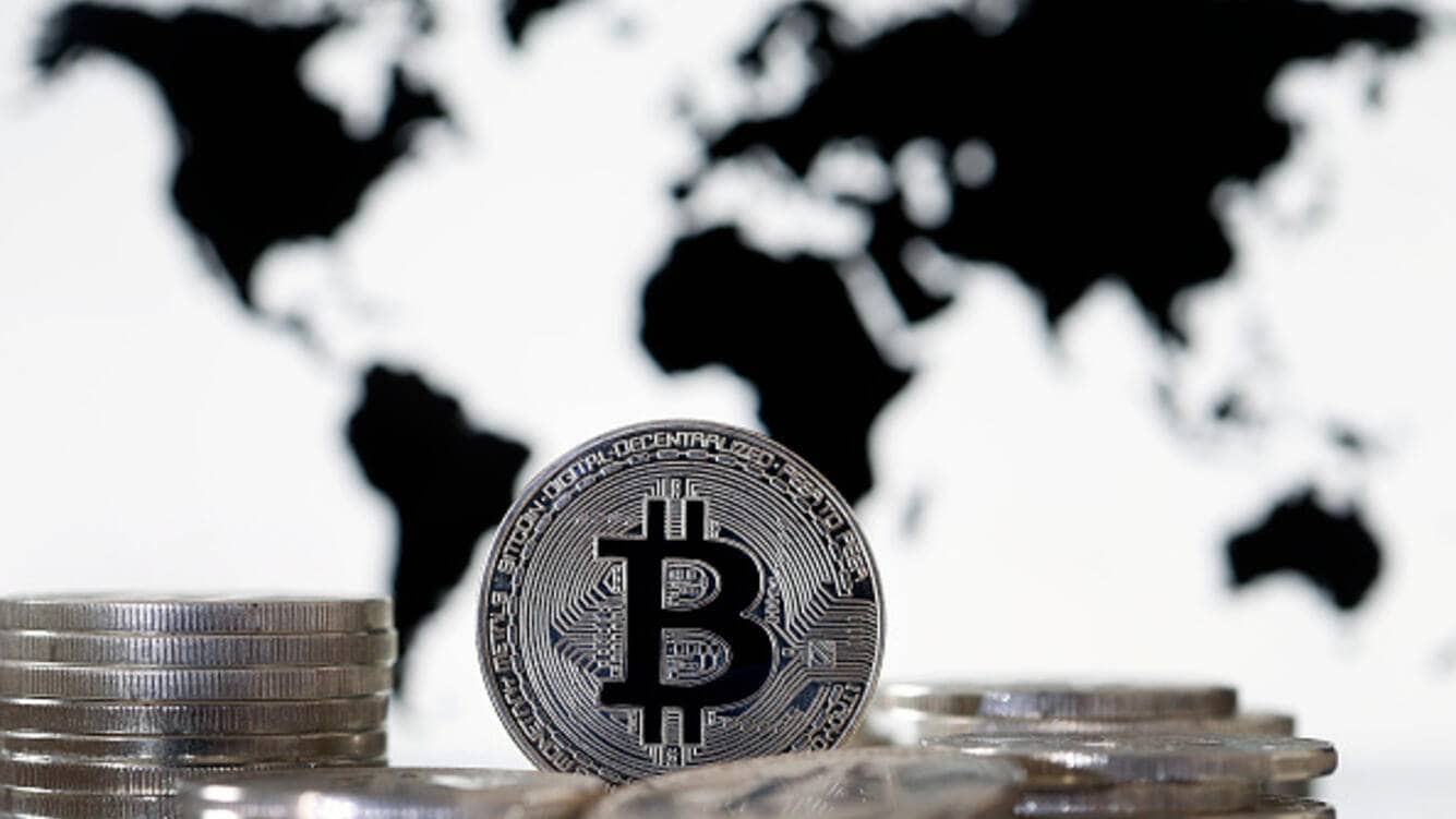 In this photo illustration, a visual representation of the digital Cryptocurrency, Bitcoin is displayed on June 25, 2019 in Paris, France. Bitcoin surpassed the 11,000 dollar mark Monday, Facebook's arrival on the cryptocurrency market with Libra has boosted global interest around the various currencies in circulation. Bitcoin has reached its highest level since March 5, 2018. (Photo by Chesnot/Getty Images)