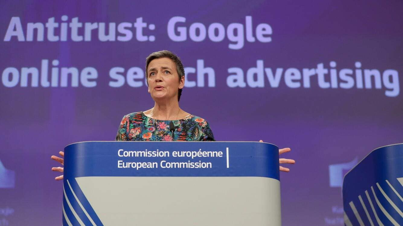 epa07450241 EU Commissioner for Competition Margrethe Vestager, from Denmark, speaks at a news conference on the concurrence case with Google online search advertising, at the European Commission in Brussels, Belgium, 20 March 2019. The EU on 20 March 2019 fined Google with a fine of 1.5 billion US dollars over search engine advertising in the 'AdSense for Search' subsection.  EPA/STEPHANIE LECOCQ