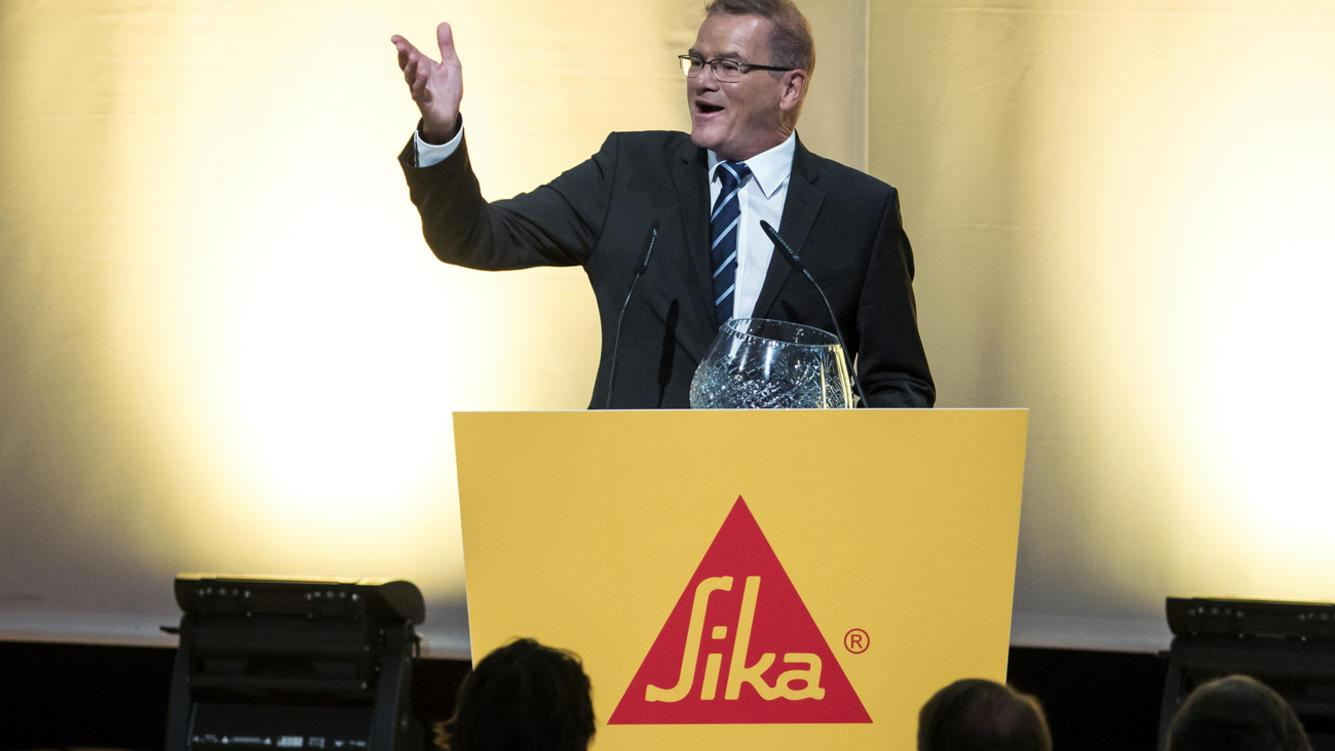 Paul Schuler, CEO, speaks during the Annual General Assembly of the specialty chemical company Sika in the Waldmannhalle in Baar, Switzerland, on Tuesday, April 17, 2018. (KEYSTONE/Alexandra Wey)
