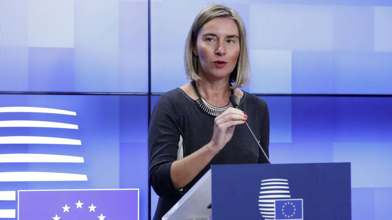 epa07190955 European Union Foreign Policy Chief Federica Mogherini speaks during a press briefing in Brussels, Belgium, 26 November 2018. The EU reportedly urged Russia to 'restore freedom of passage in the Kerch Strait' and called on both parties to 'de-escalate the situation immediately' after Russia had seized three Ukrainian vessels amid their leaving the Azov Sea through the Kerch Strait on 25 November.  EPA/OLIVIER HOSLET