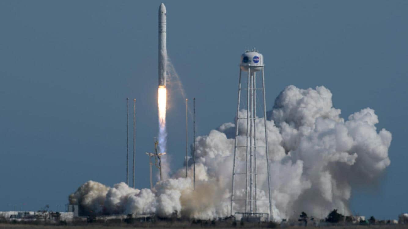 WALLOPS ISLAND, VA - APRIL 17: In this NASA handout, the Northrop Grumman Antares rocket, with Cygnus resupply spacecraft onboard, launches from Pad-0A on April 17, 2019 at NASA's Wallops Flight Facility in Wallops Island, Virginia. Northrop Grumman's 11th contracted cargo resupply mission for NASA to the International Space Station will deliver about 7,600 pounds of science and research, crew supplies and vehicle hardware to the orbital laboratory and its crew. (Photo by Bill Ingalls/NASA via Getty Images)
