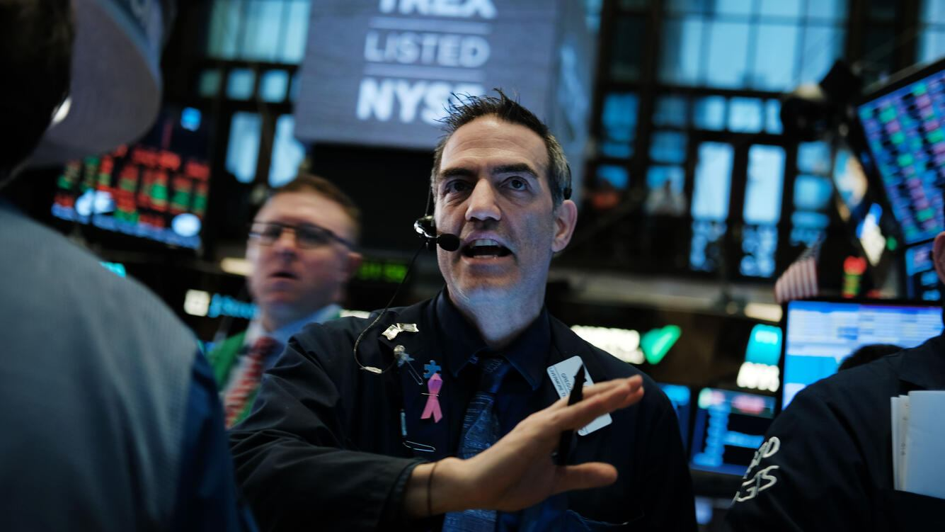NEW YORK, NEW YORK - APRIL 08: Traders work on the floor of the New York Stock Exchange (NYSE) on April 08, 2019 in New York City. Markets are reacting as President Trump considers placing Herman Cain, a former pizza executive and presidential candidate, to a seat on the Federal Reserve Board. The Dow was down over 100 points in morning trading. (Photo by Spencer Platt/Getty Images)