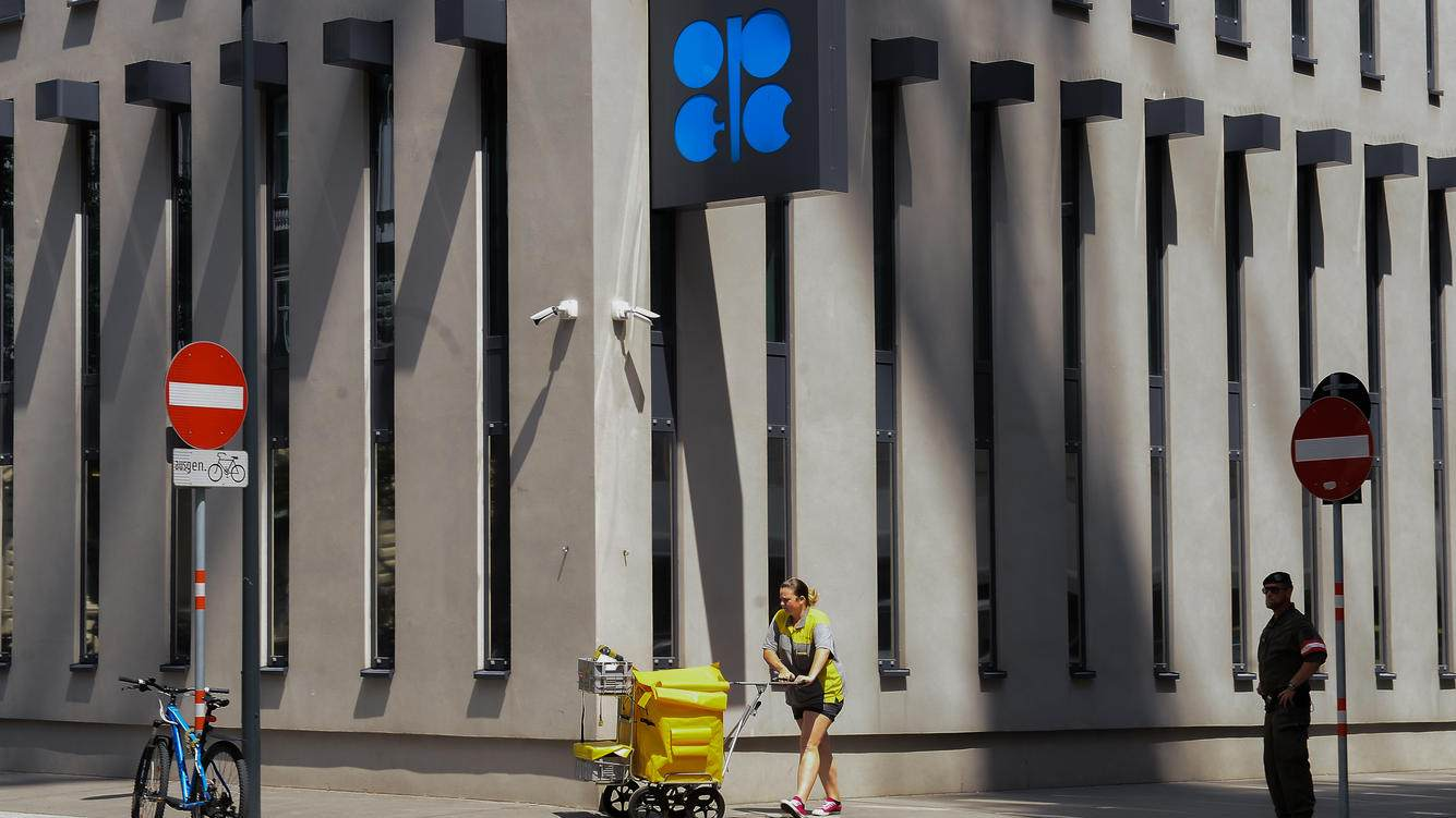 VIENNA, AUSTRIA - 2018/06/20: People pass by OPEC logo at the  Organisation of Petroleum Exporting Countries (OPEC).The 174th OPEC meeting will be held  on the 22th June 2018 in Vienna. (Photo by Omar Marques/SOPA Images/LightRocket via Getty Images)