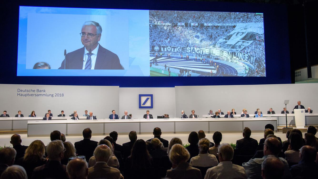 FRANKFURT AM MAIN, GERMANY - MAY 24:  Paul Achleitner, Chairman of the Supervisory Board at Deutsche Bank, speaks at the Deutsche Bank annual shareholders' meeting on May 24, 2018 in Frankfurt, Germany. Shareholders, frustrated by years of poor performance by Deutsche Bank, are calling for Achleitner to step down.  (Photo by Thomas Lohnes/Getty Images)