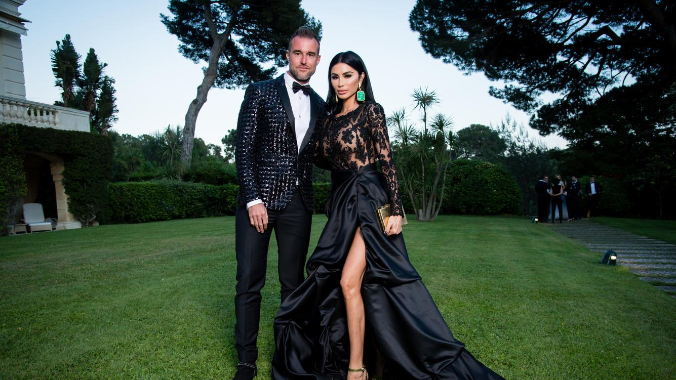CAP D'ANTIBES, FRANCE - MAY 17:  Philipp Plein and Morgan Osman pose for portraits at the amfAR Gala Cannes 2018 cocktail at Hotel du Cap-Eden-Roc on May 17, 2018 in Cap d'Antibes, France.  (Photo by Pascal Le Segretain/amfAR/WireImage for amfAR)