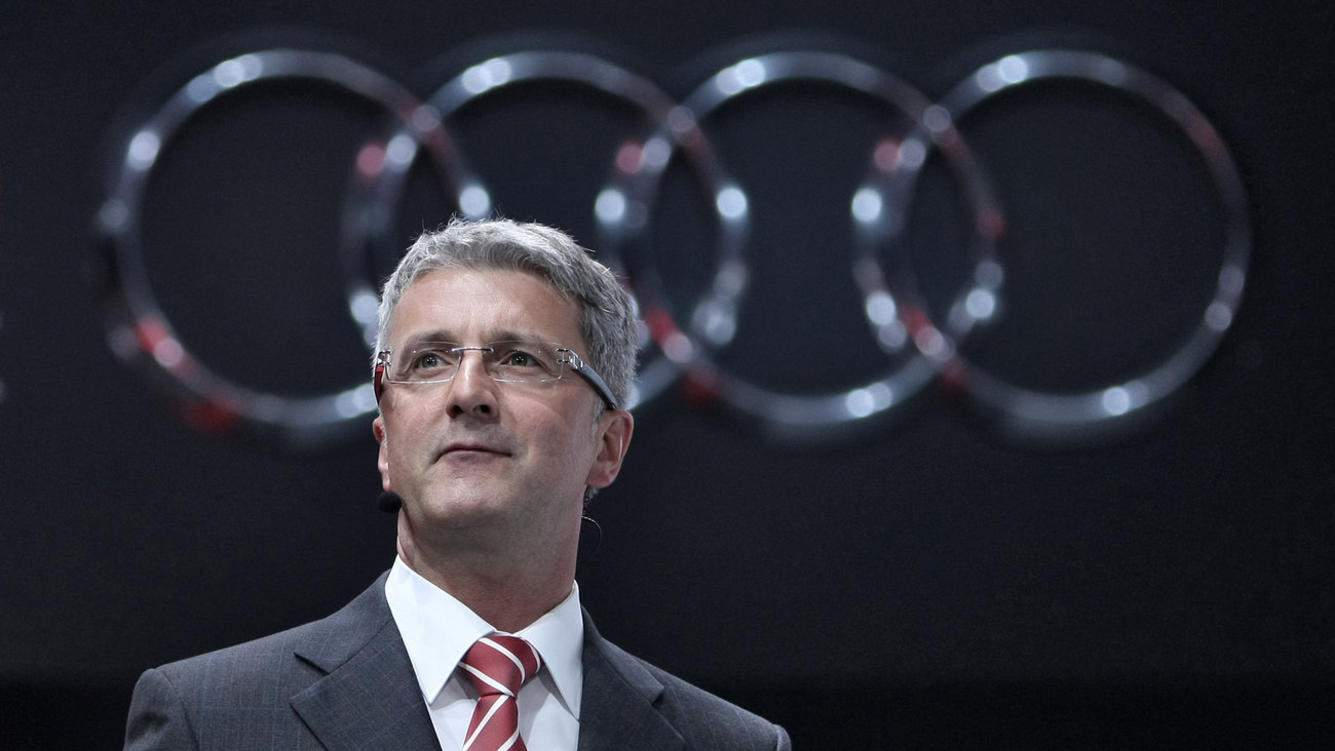 Audi chairman Rupert Stadler speaks in front of an Audi logo at the International Motor Show IAA in Frankfurt Main, Germany, 13 September 2011. From 15 to 25 September 2011 exhibitors from all over the world will present new trends of the automotive industry, headed by electronic mobility and hybrid vehicles. Photo: FREDRIK VON ERICHSEN (KEYSTONE/DPA/Fredrik von Erichsen)