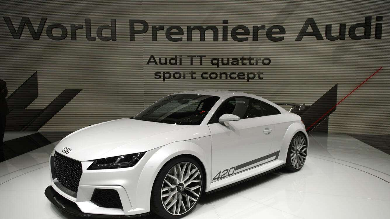 The new Audi TT quattro sport concept which is shown, during the press day at the 84rd Geneva International Motor Show in Geneva, Switzerland, Tuesday, March 4, 2014. The Motor Show will open its gates to the public from 6th to 16th March presenting more than 250 exhibitors and more than 146 world and European premieres. (KEYSTONE/Martial Trezzini)