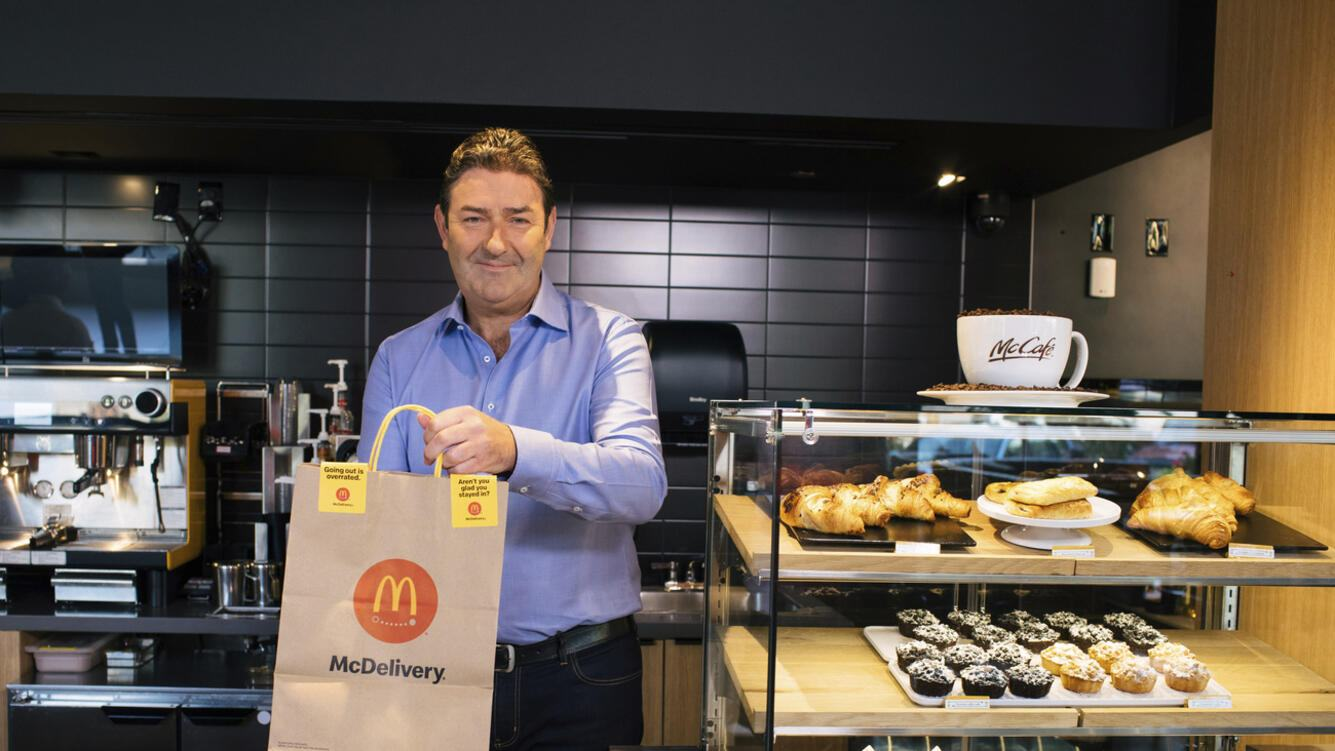 IMAGE DISTRIBUTED FOR MCDONAD'S- McDonaldâÄ™s CEO Steve Easterbrook presents McDelivery orders at the McDonaldâÄ™s restaurant with a global menu at the companyâÄ™s headquarters in Chicago in celebration of McDelivery Night In on Thursday, September 19, 2019. (Alyssa Schukar/AP Images for McDonald's)