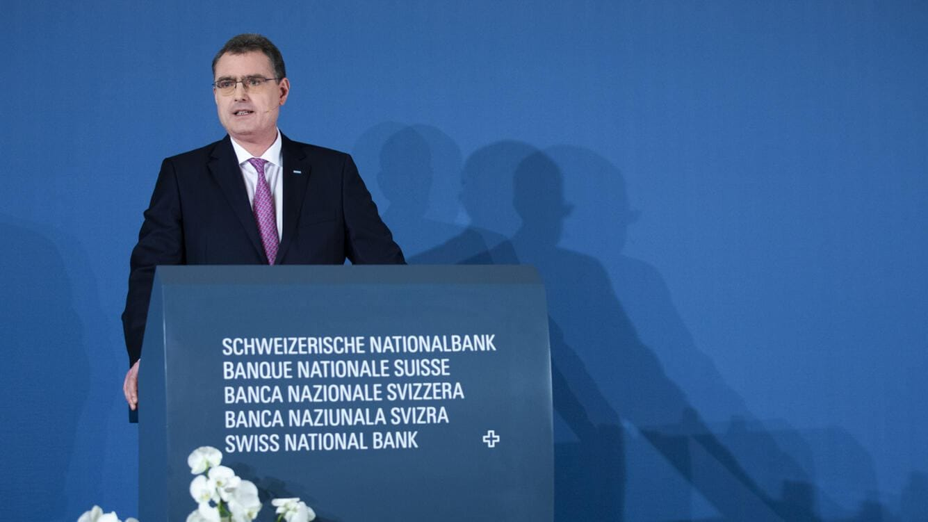 Thomas Jordan, President of the Swiss National Bank, speaks during the presentation of the new Swiss 100 francs banknote in Bern, Switzerland, Tuesday, September 3, 2019. (KEYSTONE/Peter Klaunzer)
