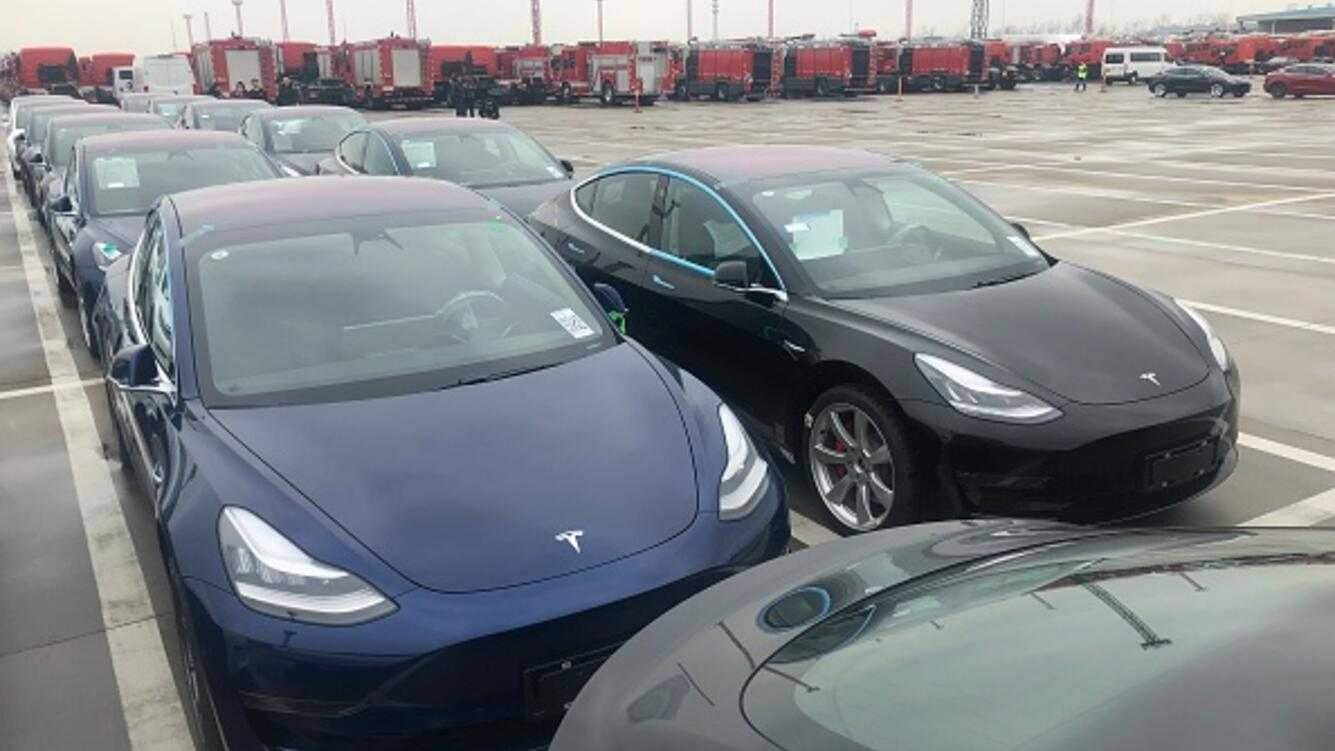 SHANGHAI, CHINA - FEBRUARY 22: More than 1,800 Tesla electric cars, including over 1,600 Model 3 from the United States, arrive at Pudong Waigaoqiao Port on February 22, 2019 in Shanghai, China. Freight ship 'Morning Cindy' carrying more than 1,800 Tesla electric cars, including over 1,600 Model 3 from the United States, arrived in Shanghai on Friday. (Photo by Zhao Yun/VCG via Getty Images)