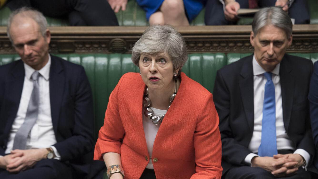 Britain's Prime Minister Theresa May speaks to lawmakers in parliament, London, Tuesday March 12, 2019. Prime Minister Theresa May's mission to secure Britain's orderly exit from the European Union appeared headed for defeat Tuesday, as lawmakers ignored her entreaties to support her divorce deal and end the political chaos and economic uncertainty that Brexit has unleashed. (Jessica Taylor/UK Parliament via AP)