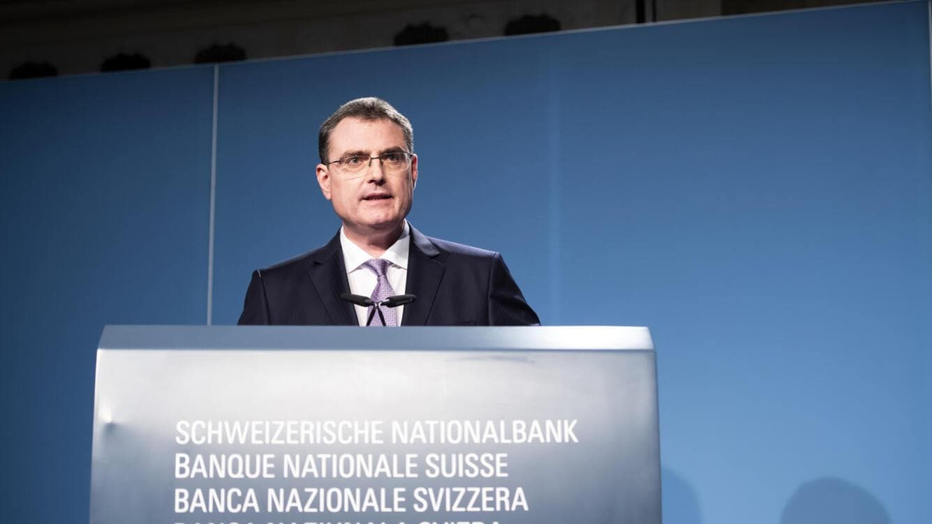 Swiss National Bank's (SNB) Chairman of the Governing Board Thomas Jordan, speaks during a semi-annual conference in Bern, Switzerland, Thursday, June 13, 2019. (KEYSTONE/Anthony Anex)