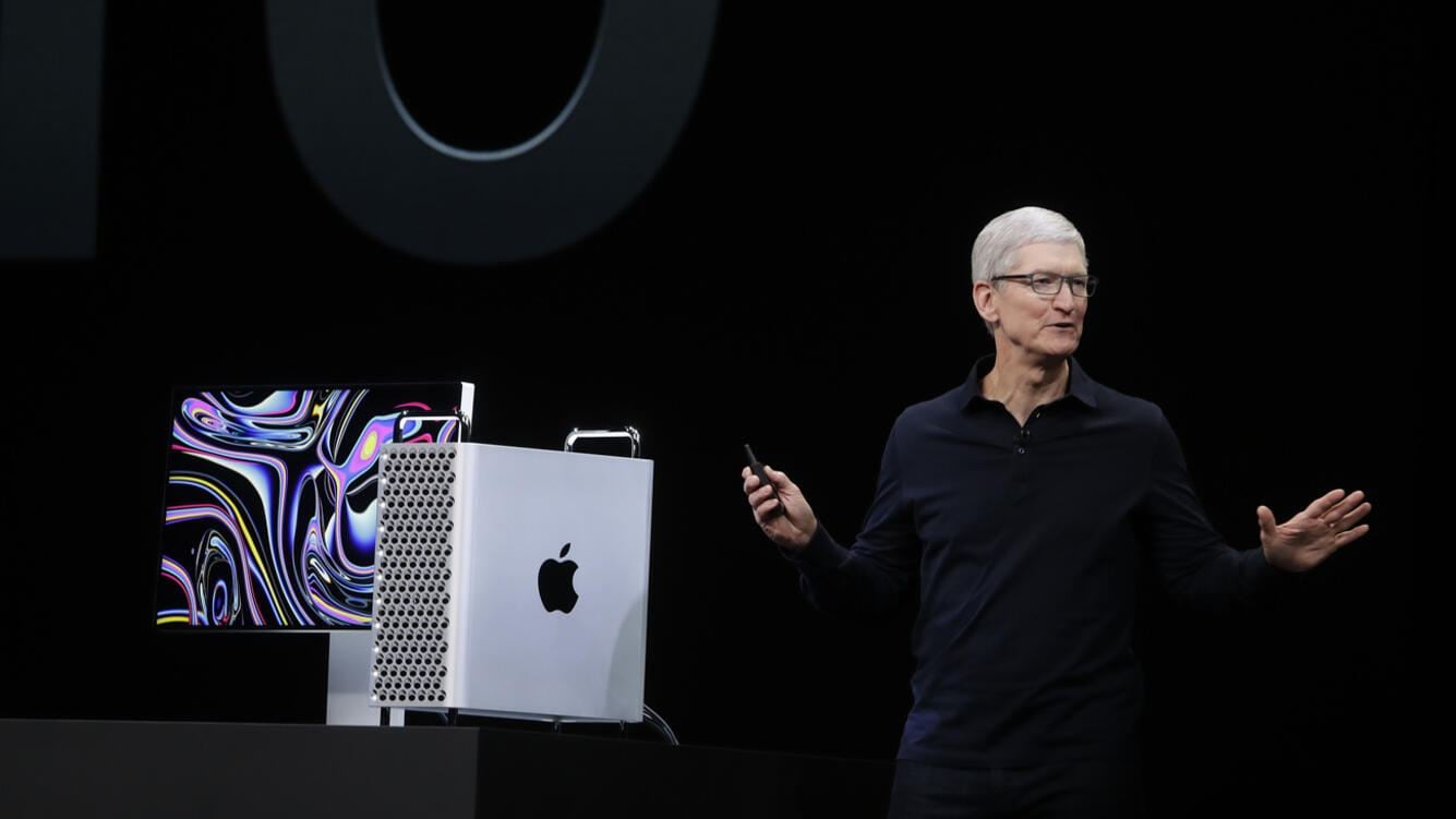 CORRECTS TO MAC PRO- Apple CEO Tim Cook speaks about the Mac Pro at the Apple Worldwide Developers Conference in San Jose, Calif., Monday, June 3, 2019. (AP Photo/Jeff Chiu)