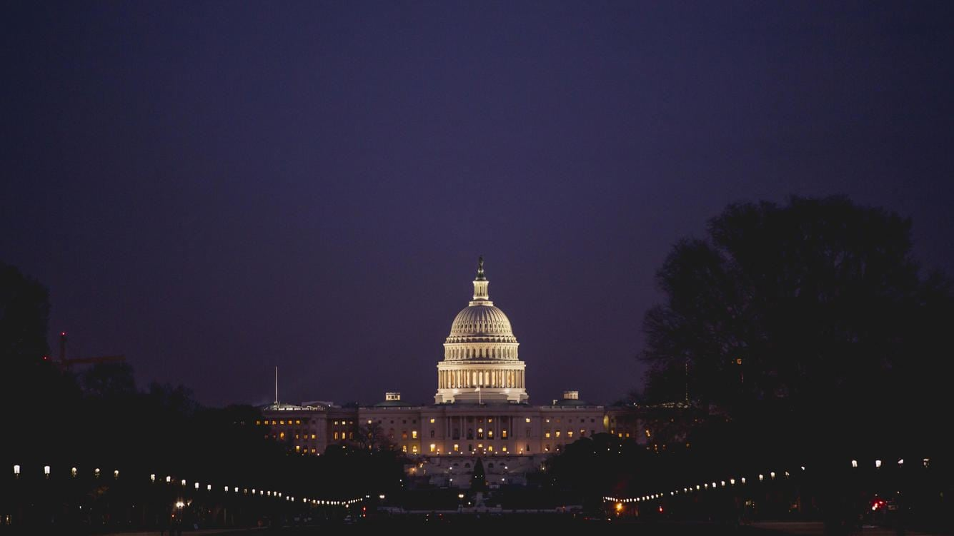 The U.S. Capitol building in Washington DC at night