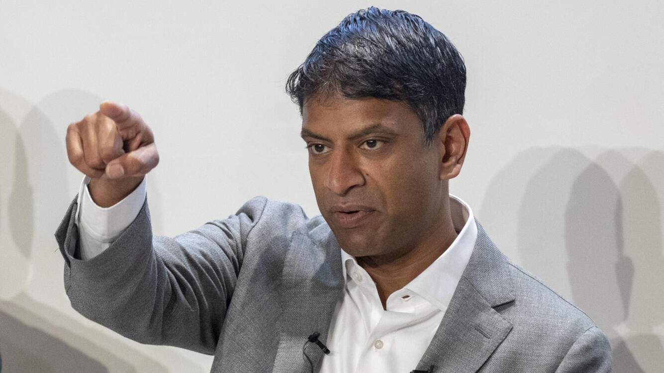 Vas Narasimhan, CEO of Swiss pharmaceutical group Novartis, speaks during the annual results media conference at the Novartis Campus in Basel, Switzerland, on Wednesday, January 30, 2019.  (KEYSTONE/Patrick Straub)