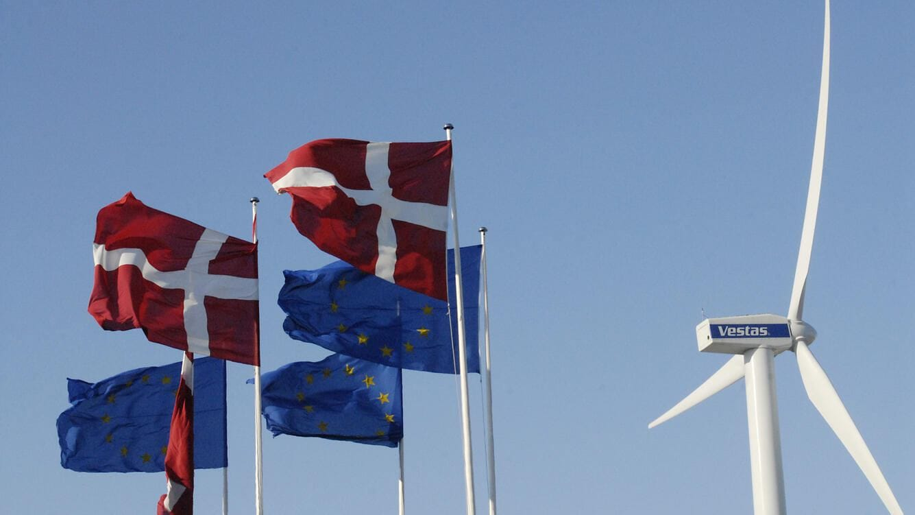 DENMARK / COPENHAGEN _ Danish wind turbines industry Vestas turbine danish flag and european union flags at bella Center 2 Febuary 2012 (PHOTO BY FRANCIS JOSEPH DEAN / DEAN PICTURES) (Photo by Francis Dean/Corbis via Getty Images)