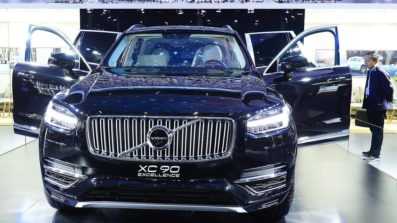 SHANGHAI, CHINA - NOVEMBER 07: Volvo XC90 SUV is on display on day three of the China International Import Expo (CIIE) at the National Exhibition and Convention Center on November 7, 2018 in Shanghai, China. The first China International Import Expo is held on November 5-10 in Shanghai. (Photo by VCG/VCG via Getty Images)