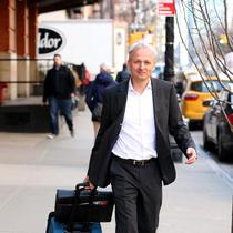 EXCLUSIVE: Sulzer AG Chief Executive Officer Gregoire Poux-Guillaume checks out of the Greenwich Hotel in New York City.