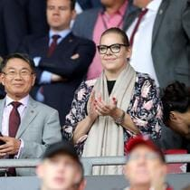 Southampton chairman Ralph Krueger (left) with owners Gao Jisheng (centre) and Katharina Liebherr in the stands before the Premier League match at St Mary's, Southampton. (Photo by Andrew Matthews/PA Images via Getty Images)
