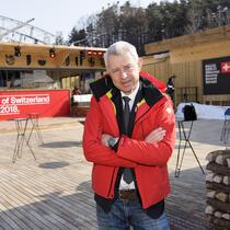 Nicolas Bideau, head of Presence Suisse, poses in front of the House of Switzerland one day prior to the opening of the XXIII Winter Olympics 2018 in Pyeongchang, South Korea, on Thursday, February 08, 2018. (KEYSTONE/Jean-Christophe Bott)