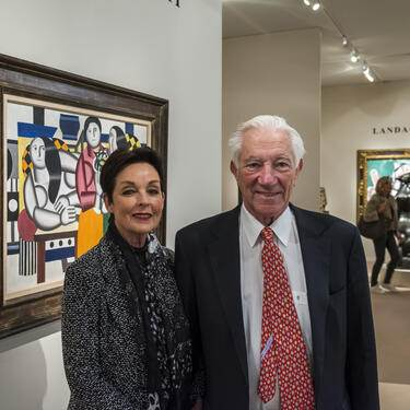 Art dealer Robert Landau and his wife Alice at the TEFAF Fall art and antiques Fair 2019 at the Park Avenue Armory in New York City.