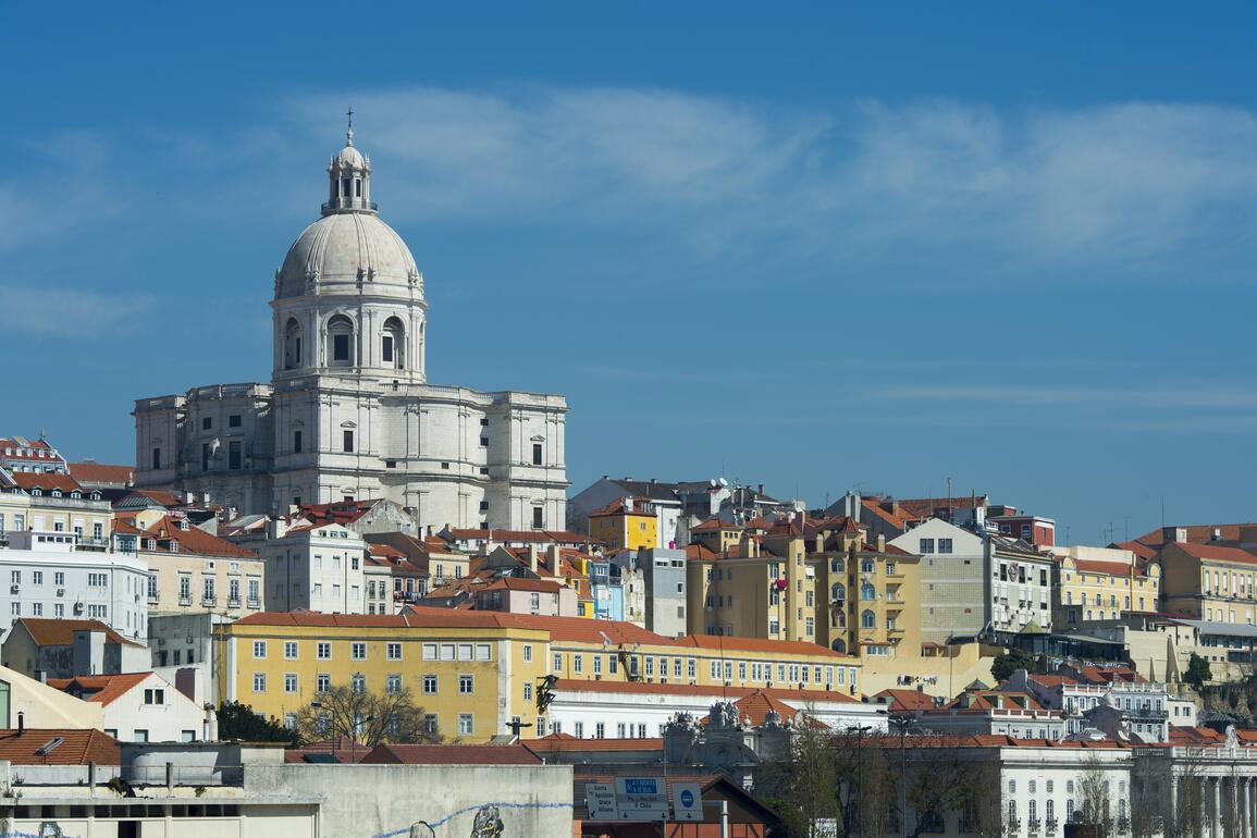 PORTUGAL - 2015/04/04: View from the Tagus River of Lisbon, the capital city of Portugal with the old city Alfama and the Church of Santa Engracia. (Photo by Wolfgang Kaehler/LightRocket via Getty Images)