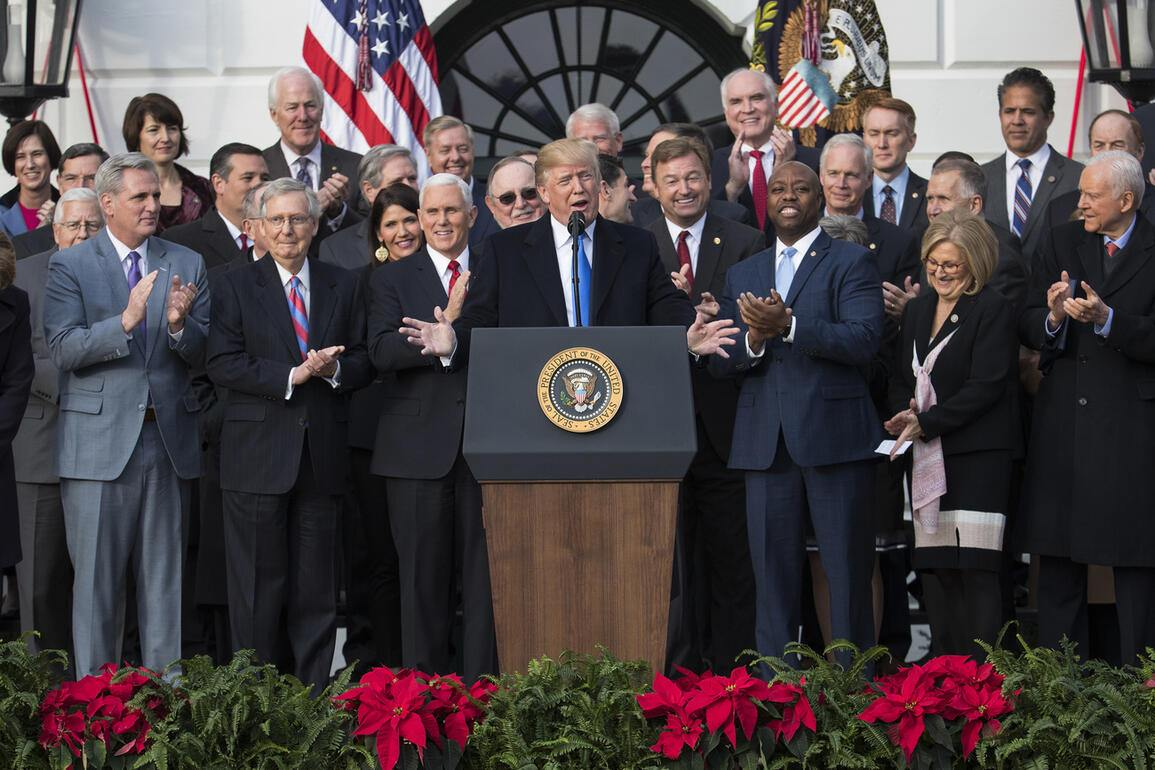 President Donald Trump speaks during an event on the South Lawn of the White House in Washington, Wednesday, Dec. 20, 2017, to acknowledge the final passage of tax overhaul legislation by Congress. (AP Photo/Carolyn Kaster)
