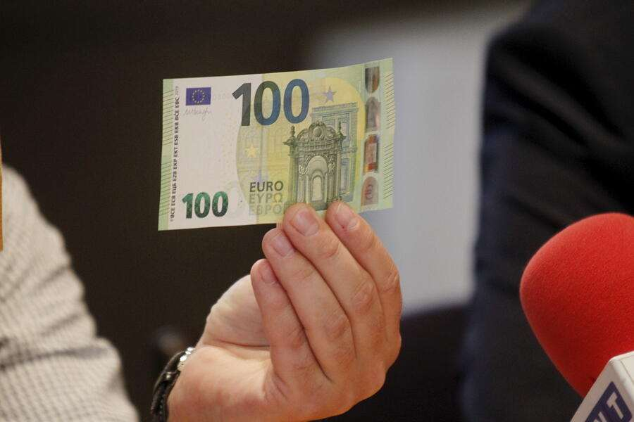 epa07596697 A view of new 100 euro banknote in Riga, Latvia, 24 May 2019. Latvia will be launching new 100 euro and 200 euro banknotes On 28th May 2019. These are the latest European series of banknotes with refurbished design and advanced security features. EPA/Toms Kalnins
