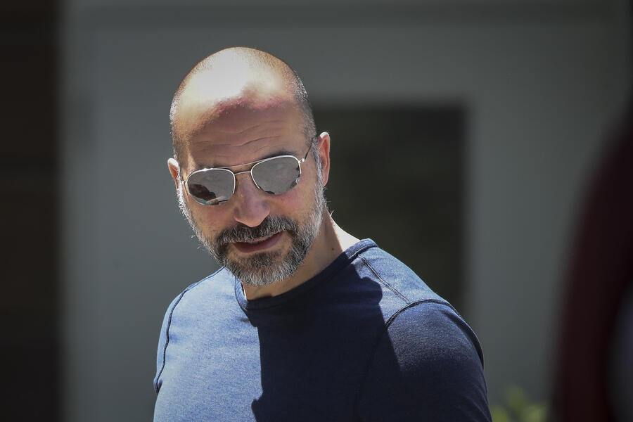SUN VALLEY, ID - JULY 9: Dara Khosrowshahi, chief executive officer of Uber, arrives at the annual Allen & Company Sun Valley Conference, July 9, 2019 in Sun Valley, Idaho. Every July, some of the world's most wealthy and powerful businesspeople from the media, finance, and technology spheres converge at the Sun Valley Resort for the exclusive weeklong conference. (Photo by Drew Angerer/Getty Images)