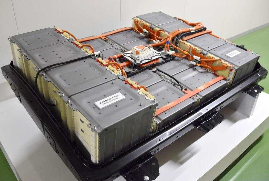 Photo taken in Zama, Kanagawa Prefecture, eastern Japan, on Sept. 13, 2019, shows an lithium-ion battery for use in electric vehicles. The Royal Swedish Academy of Sciences announced on Oct. 9 that Akira Yoshino, John Goodenough and Stanley Whittingham won this year's Nobel Prize in chemistry for their contribution to the development of lithium-ion batteries. (Photo by Kyodo News via Getty Images)