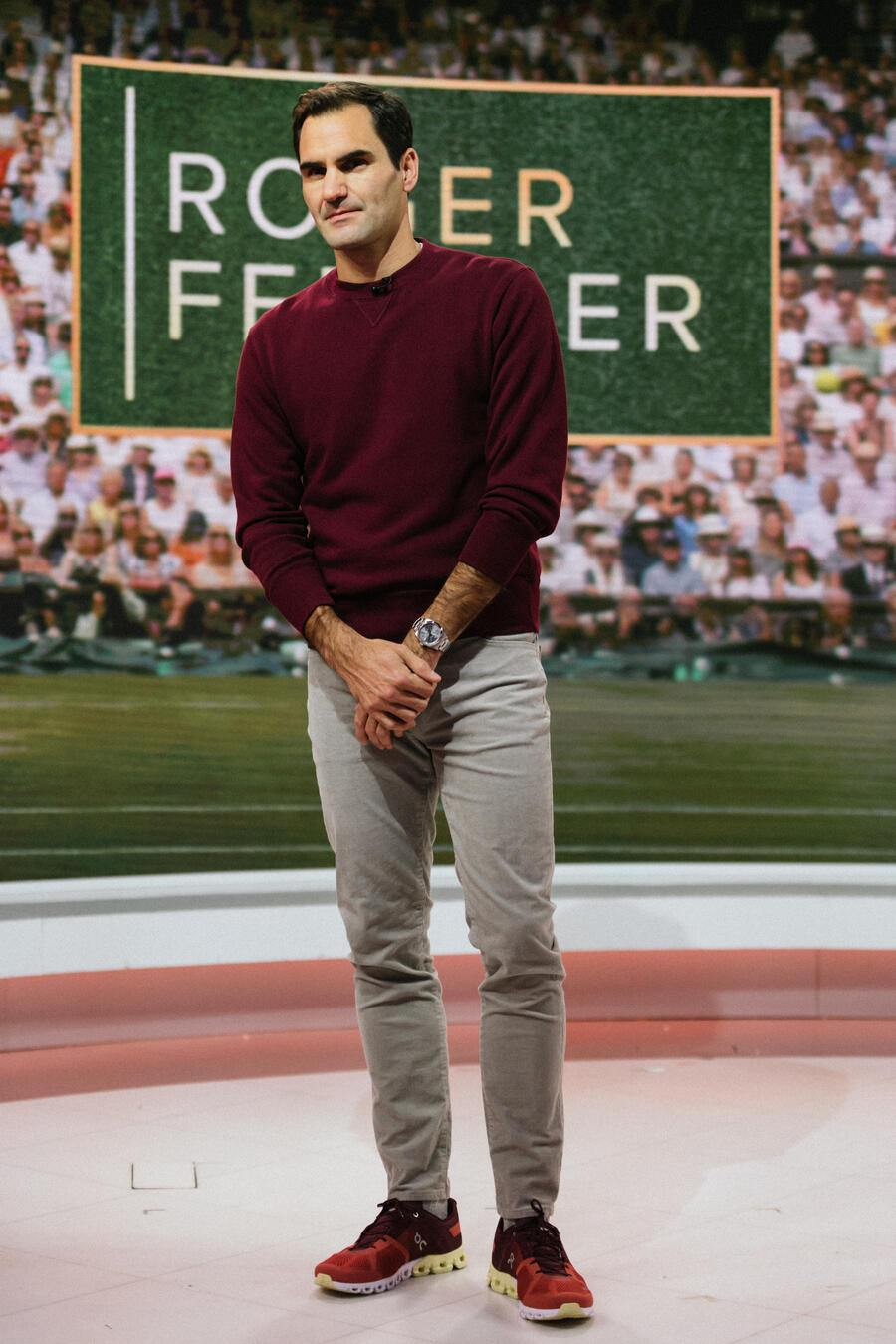 TODAY -- Pictured: Roger Federer on Monday, November 25, 2019 -- (Photo by: Nathan Congleton/NBC/NBCU Photo Bank via Getty Images)