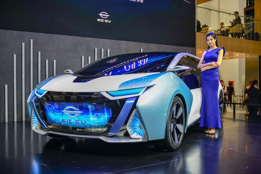 BEIJING, CHINA - APRIL 25:  A Changjiang EV electric car is on display during the Auto China 2018 at China International Exhibition Center on April 25, 2018 in Beijing, China. Auto China 2018, also known as 2018 Beijing International Automotive Exhibition, will be held from April 27 to May 4.  (Photo by VCG/VCG via Getty Images)