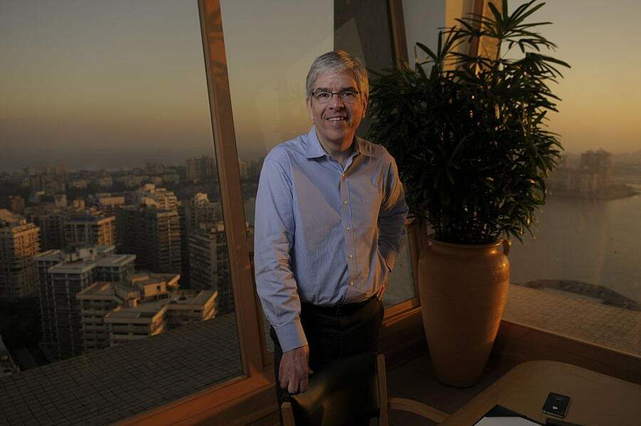 MUMBAI, INDIA  JANUARY 10: (EDITOR NOTE: This is an exclusive shoot of Mint) Paul Romer- Professor of Economics at New York University's Stern School of Business poses during an exclusive interview on January 10, 2013 in Mumbai, India. (Photo by Abhijit Bhatlekar/Mint via Getty Images)