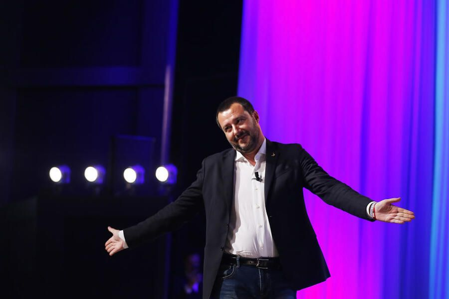 "ROME, ITALY - NOVEMBER 14:  Italy's Interior Minister Matteo Salvini attends the ""Maurizio Costanzo Show"" at Voxson Studios on November 14, 2018 in Rome, Italy.  (Photo by Ernesto Ruscio/Getty Images)"