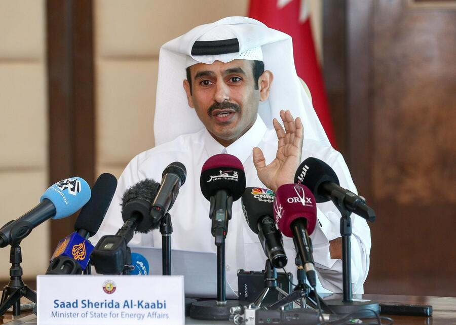 epa07205418 Saad Sherida al-Kaabi, Qatar Minister of Energy and industry talks during a press conference in Doha, Qatar, 03 December 2018. Sherida al-Kaabi announced that Qatar will withdraw from the Organization of the Petroleum Exporting Countries (OPEC) from January 2019, as confirmed by Qatar Petroleum, the country's state oil company.  EPA/STR