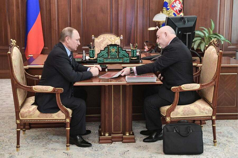 MOSCOW, RUSSIA - MARCH 14, 2017: Russia's President Vladimir Putin (L) and Renova Group Board Chairman and Skolkovo Foundation President Viktor Vekselberg, meet at Moscow's Kremlin. Alexei Nikolsky/Russian Presidential Press and Information Office/TASS (Photo by Alexei Nikolsky\TASS via Getty Images)