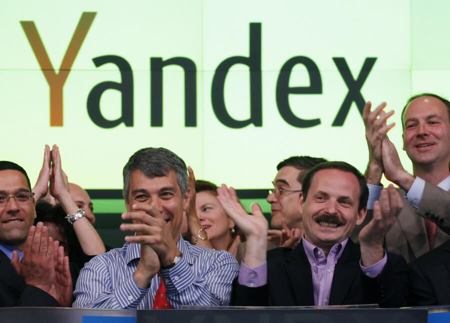 Arkady Volozh, CEO of Yandex, celebrates the initial public offering of his company at the Nasdaq MarketSite, Tuesday, May 24, 2011 in New York. Yandex is a Russian internet search company.  (AP Photo/Richard Drew)