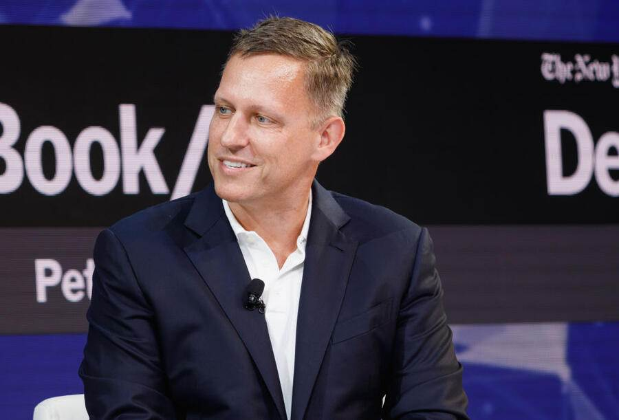 NEW YORK, NY - NOVEMBER 01:  Peter Thiel, Partner, Founders Fund speaks onstage during the 2018 New York Times Dealbook on November 1, 2018 in New York City.  (Photo by Michael Cohen/Getty Images for The New York Times)