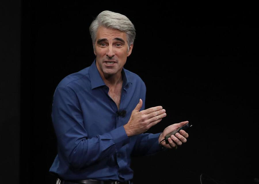 CUPERTINO, CA - SEPTEMBER 12:  Apple's senior vice president of Software Engineering Craig Federighi speaks during an Apple special event at the Steve Jobs Theatre on the Apple Park campus on September 12, 2017 in Cupertino, California. Apple held their first special event at the new Apple Park campus where they announced the new iPhone 8, iPhone X and the Apple Watch Series 3.  (Photo by Justin Sullivan/Getty Images)