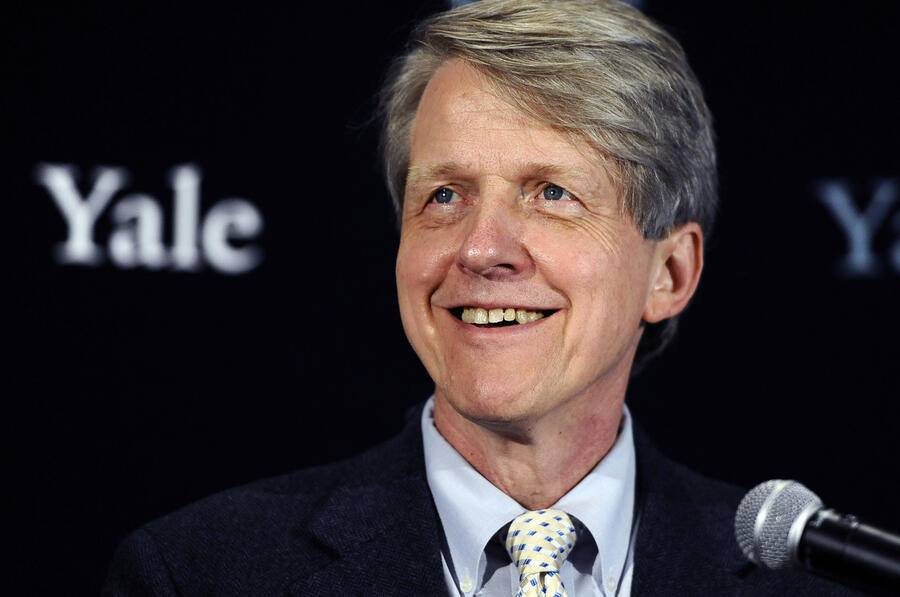 Economist, author and Yale University professor Robert Shiller smiles at a news conference, Monday, Oct. 14, 2013, in New Haven, Conn. Americans Shiller, Eugene Fama and Lars Peter Hansen have won the Nobel prize in economics. (AP Photo/Jessica Hill)