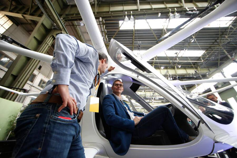 BERLIN, GERMANY - MAY 25: Michael Müller tries out a Volocopter during day 3 of the Greentech Festival at Tempelhof Airport on May 25, 2019 in Berlin, Germany. The Greentech Festival is the first festival to celebrate green technology and to accelerate the shift to more sustainability. The festival will take place from 23 to 25 May 2019 on the grounds of the former airport Berlin Tempelhof. (Photo by Axel Schmidt/Getty Images for Greentech Festival)