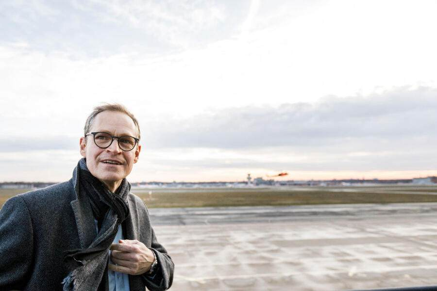BERLIN, GERMANY - DECEMBER 17: Berlin Mayor Michael Mueller poses on the tower of Tegel Airport on December 17, 2019 in Berlin, Germany. Tegel Airport is to close once Berlin's new, long-awaited Willy Brandt Berlin Brandenburg International Airport opens, currently scheduled for October, 2020. (Photo by Carsten Koall/Getty Images)