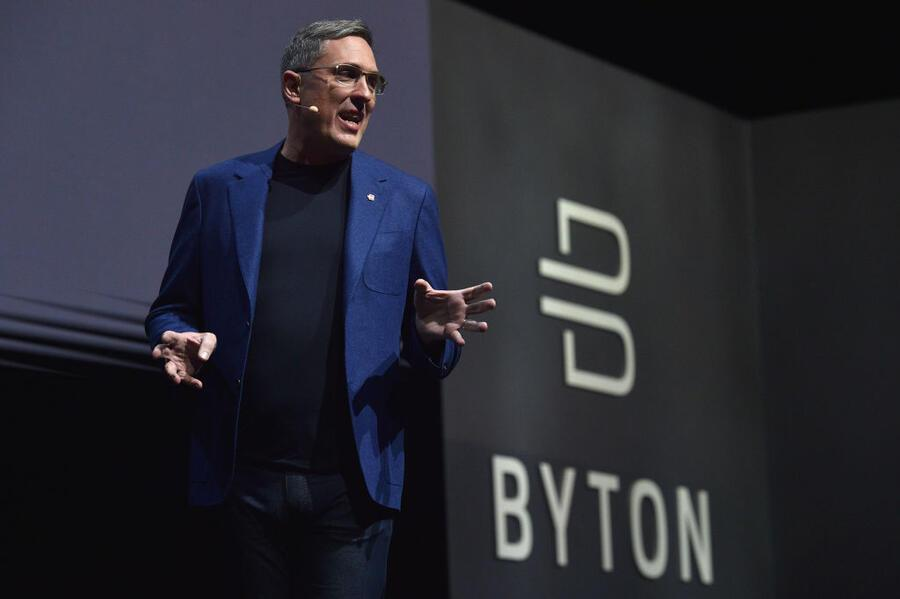 LAS VEGAS, NEVADA - JANUARY 05: Byton CEO and Co-Founder Daniel Kirchert speaks during a Byton press event during CES 2020 at the Mandalay Bay Convention Center on January 5, 2020 in Las Vegas, Nevada. CES, the world's largest annual consumer technology trade show, runs from January 7-10 and features about 4,500 exhibitors showing off their latest products and services to more than 170,000 attendees. (Photo by David Becker/Getty Images)