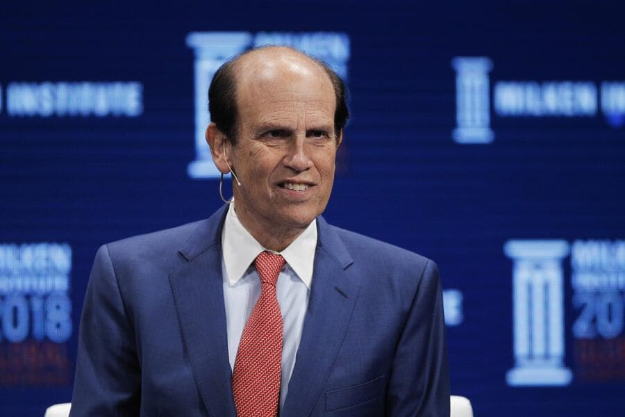 FILE - In this April 30, 2018, file photo, financier Michael Milken leads a discussion at the Milken Institute Global Conference in Beverly Hills, Calif. (AP Photo/Jae C. Hong, File ).Michael Milken