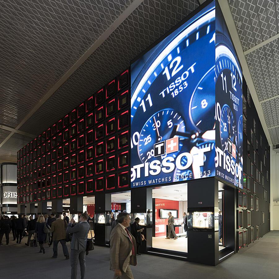 The Tissot booth, pictured at the world watch and jewellery show Baselworld in Basel, Switzerland, on Monday, March 26, 2018. (KEYSTONE/Georgios Kefalas)