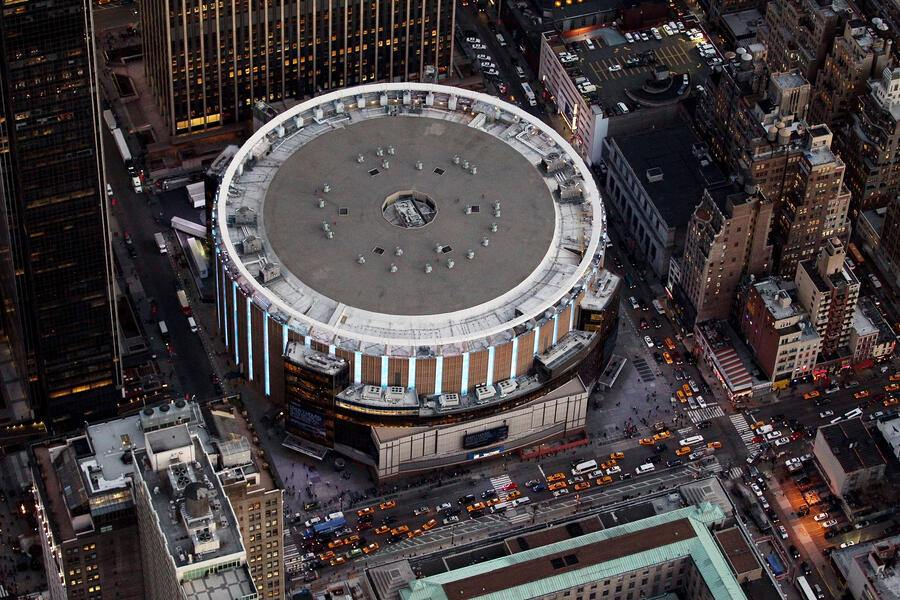 NEW YORK, NY - DECEMBER 30:  Madison Square Garden photographed from above on December 30, 2014 in New York City.  (Photo by Alex Trautwig/Getty Images)