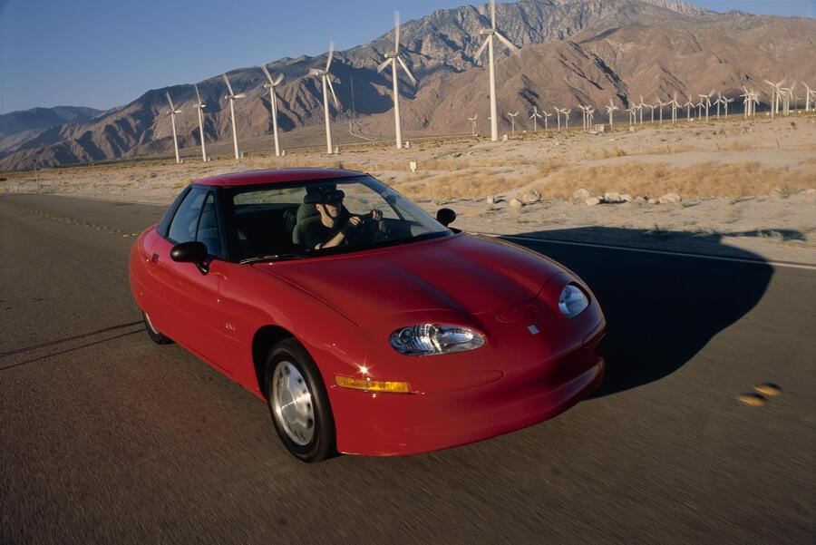General Motors' environmentally friendly electric car, the EV1 (Electric Vehicle 1). (Photo by David Butow/Corbis via Getty Images)