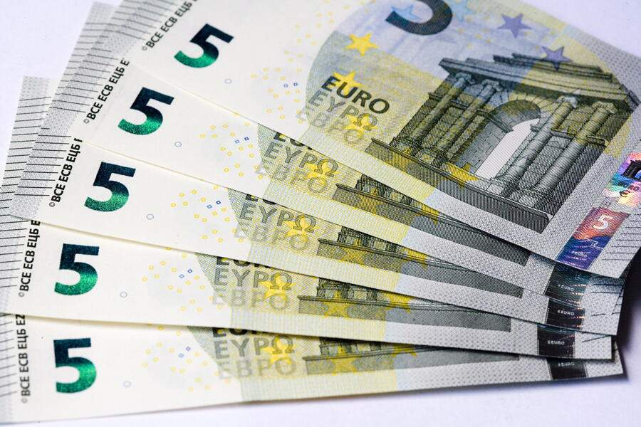 MAY 24:  The new 5 Euro bank notes on May 24, 2013. (Photo by Ulrich Baumgarten via Getty Images)